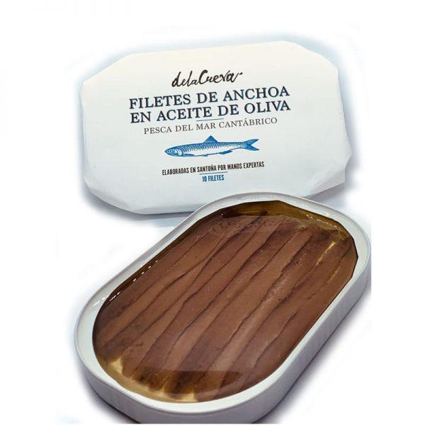 Filetes de anchoa de Santoña en AOVE (10 lomos) delaCueva