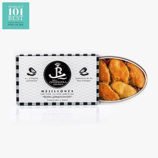 Mejillones fritos en escabeche 6/8 piezas. Real Conservera Española (OL-120)
